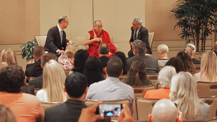 His Holiness the Dalai Lama speaking to school principals and teachers in Newport Beach, CA, USA on June 20, 2017. Photo by Jeremy Russell/OHHDL