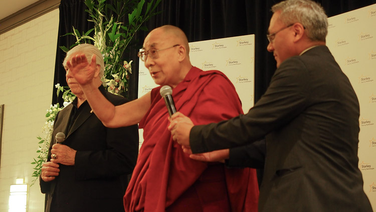 His Holiness the Dalai Lama speaking to Starkey employees during his visit to Starkey Hearing Technologies in Minneapolis, MN, USA on June 22, 2017. Photo by Jeremy Russell/OHHDL