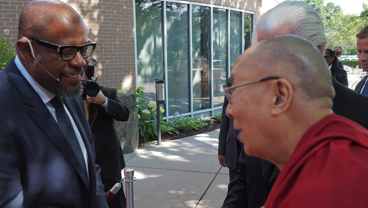 His Holiness the Dalai Lama greeting Forest Whitaker on his arrival to participate in a discussion on compassion at the Starkey Campus in Minneapolis, MN, USA on June 23, 2017. Photo by Jeremy Russell/OHHDL