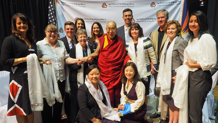 His Holiness the Dalai Lama with local government representatives including State Senator Carolyn Laine, Minneapolis Mayor Betsy Hodges and Congresswoman Betty McCollum before his meeting with members of the Tibetan community in Mineapolis, MN, USA on June 24, 2017. Photo by Jeremy Russell/OHHDL