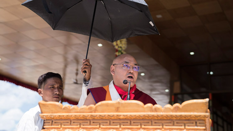 Speaker of the Tibetan Parliament in Exile, Khenpo Sonam Tenphel, addressing the crowd during celebrations in honor of His Holiness the Dalai Lama's 82nd birthday in Leh, Ladakh, J&K, India on July 6, 2017. Photo by Tenzin Choejor/OHHDL