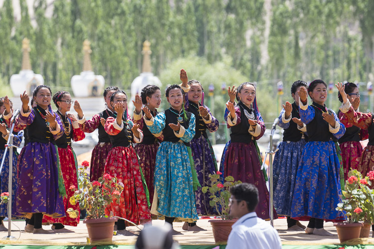 Ladakhi girls performing during celebrations in honor of His Holiness the Dalai Lama's 82nd birthday in Leh, Ladakh, J&K, India on July 6, 2017. Photo by Tenzin Choejor/OHHDL