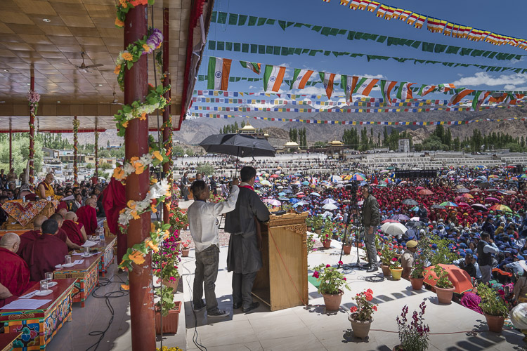 Sikyong Dr Lobsang Sangay addressing the crowd during celebrations in honor of His Holiness the Dalai Lama's 82nd birthday at the Shiwatsel teaching ground in Leh, Ladakh, J&K, India on July 6, 2017. Photo by Tenzin Choejor/OHHDL