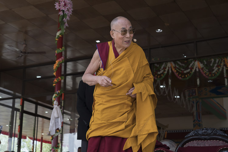 His Holiness the Dalai Lama addressing the crowd during celebrations in honor of his 82nd birthday at the Shiwatsel teaching ground in Leh, Ladakh, J&K, India on July 6, 2017. Photo by Tenzin Choejor/OHHDL