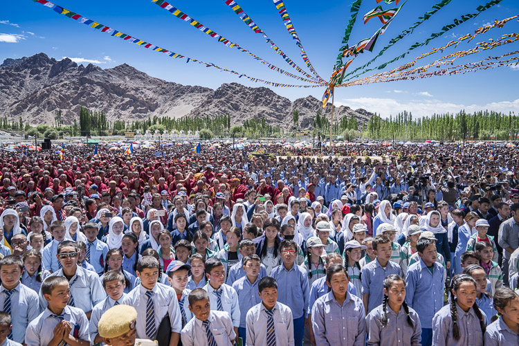 A view of the crowd attending celebrations in honor of His Holiness the Dalai Lama's 82nd birthday at the Shiwatsel teaching ground in Leh, Ladakh, J&K, India on July 6, 2017. Photo by Tenzin Choejor/OHHDL
