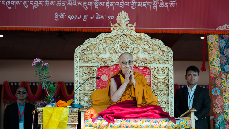 His Holiness the Dalai Lama during prayers at the start of the first day of his teachings in Disket, Nubra Valley, J&K, India on July 11, 2017. Photo by Tenzin Choejor/OHHDL