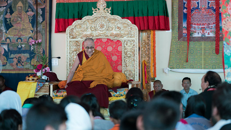 His Holiness the Dalai Lama speaking to students, monks and nuns during their meeting in Disket, Nubra Valley, J&K, India on July 11, 2017. Photo by Tenzin Choejor/OHHDL
