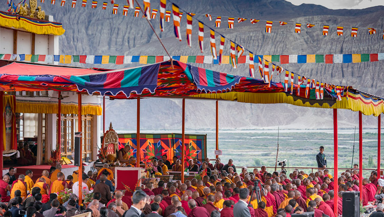 A view of the teaching ground on the final day of His Holiness the Dalai Lama's teachings in Disket, Nubra Valley, J&K, India on July 13, 2017. Photo by Tenzin Choejor/OHHDL