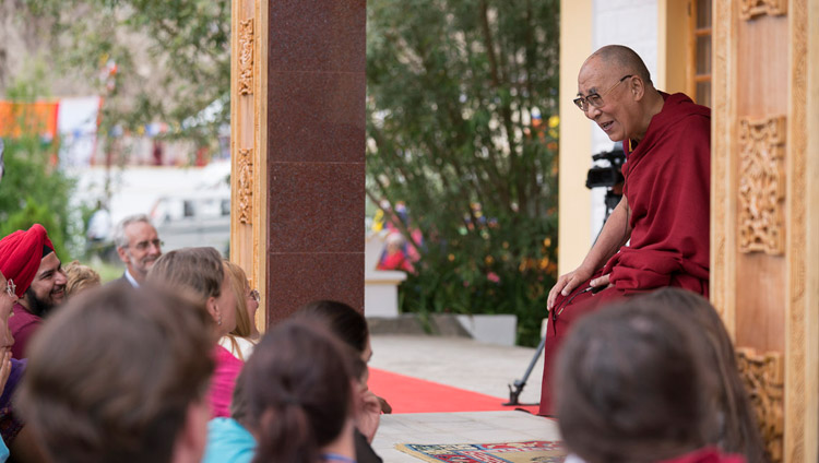 His Holiness the Dalai Lama addressing 100 foreigners who attended his teachings in  Disket, Nubra Valley, J&K, India on July 13, 2017. Photo by Tenzin Choejor/OHHDL