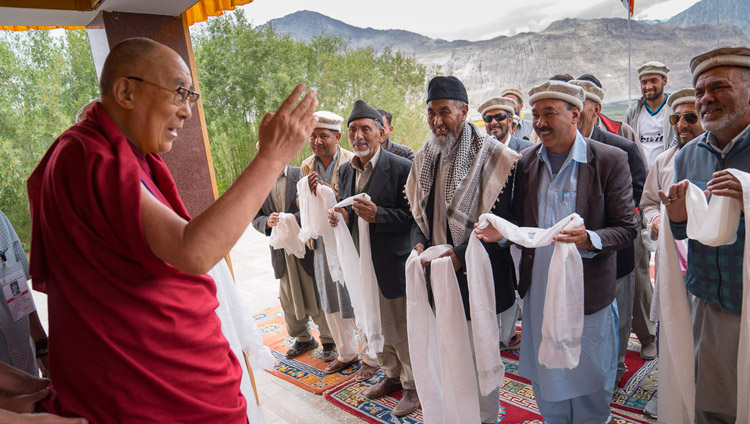 His Holiness the Dalai Lama with representatives of the Muslim community from Turtuk after their meeting in Disket, Nubra Valley, J&K, India on July 13, 2017. Photo by Tenzin Choejor/OHHDL