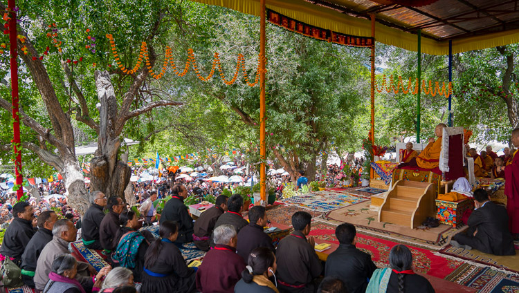 A view of the teaching ground below Samstanling Monastery, venue for His Holiness the Dalai Lama's teaching in Sumur, Nubra Valley, J&K, India on July 14, 2017. Photo by Tenzin Choejor/OHHDL