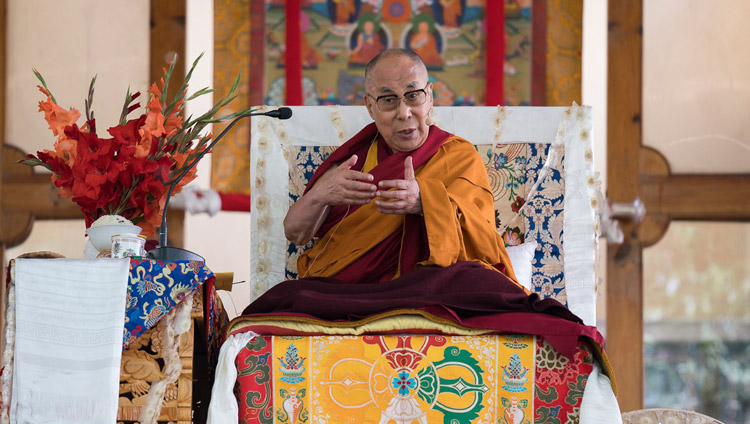 His Holiness the Dalai Lama speaking to the crowd during his teaching in Sumur, Nubra Valley, J&K, India on July 14, 2017. Photo by Tenzin Choejor/OHHDL