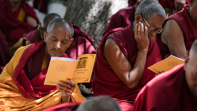 Members of the monastic community following the text during His Holiness the Dalai Lama's teaching in Sumur, Nubra Valley, J&K, India on July 14, 2017. Photo by Tenzin Choejor/OHHDL