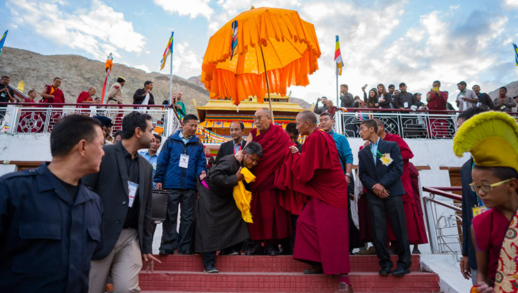 His Holiness the Dalai Lama departing from Samstanling Monastery in Nubra Valley, J&K, India on July 15, 2017. Photo by Tenzin Choejor/OHHDL