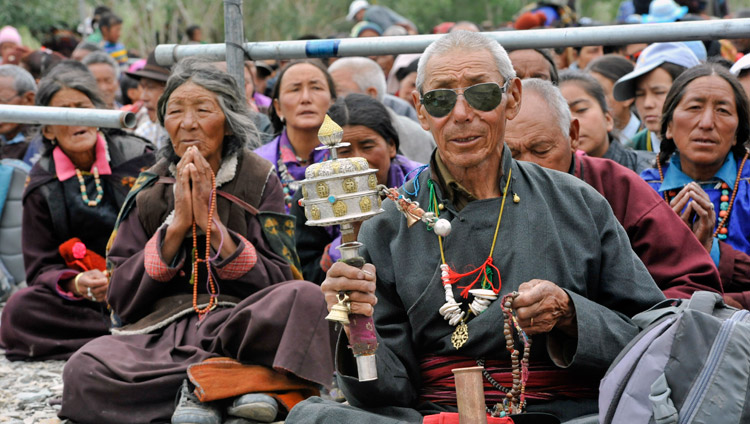 Some of the more than 10,000 people attending His Holiness the Dalai Lama's teaching in Padum, Zanskar, J&K, India on July 17, 2017. Photo by Lobsang Tsering/OHHDL