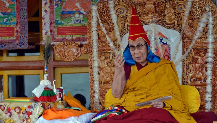 His Holiness the Dalai Lama giving the Avalokiteshvara Empowerment in Padam, Zanskar, J&K, India on July 17, 2017. Photo by Lobsang Tsering/OHHDL