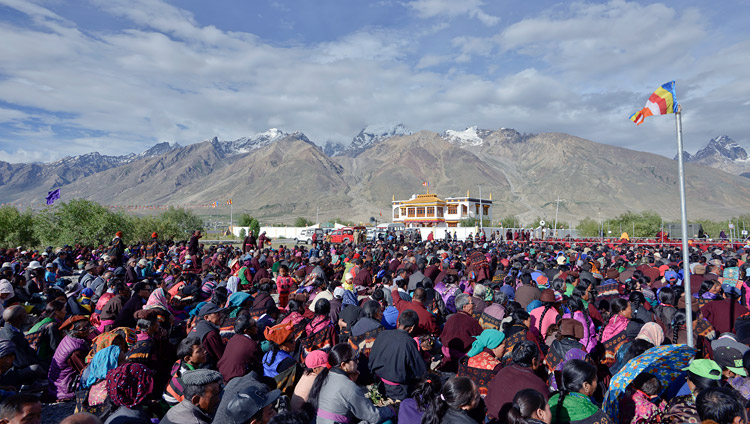 A view of the teaching ground during His Holiness the Dalai Lama's teaching in Padum, Zanskar, J&K, India on July 18, 2017. Photo by Lobsang Tsering/OHHDL