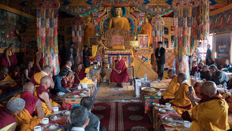 His Holiness the Dalai Lama speaking to monks and dignitaries in the main assembly hall of Matho Monastery in Leh, Ladakh, J&K, India on July 20, 2017. Photo by Tenzin Choejor/OHHDL