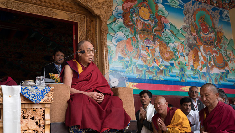 His Holiness the Dalai Lama speaking to members of the public from the veranda of the main assembly hall at Matho Monastery in Leh, Ladakh, J&K, India on July 20, 2017. Photo by Tenzin Choejor/OHHDL