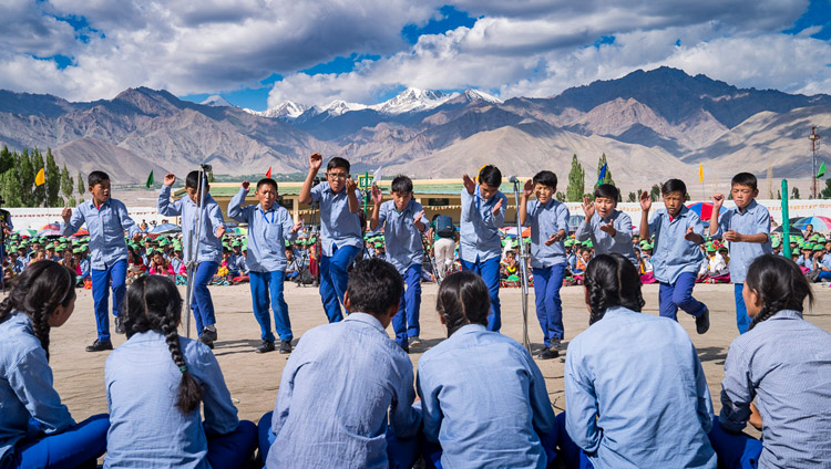 Students debating Buddhist Philosophy in front of His Holiness the Dalai Lama during his visit to Tibetan Childrens' Village School Choglamsar in Leh, Ladakh, J&K, India on July 25, 2017. Photo by Tenzin Choejor/OHHDL