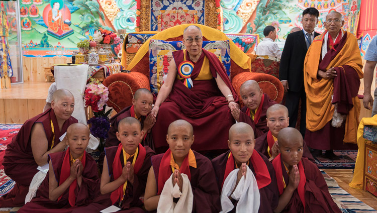 His Holiness the Dalai Lama with nuns who demonstrated Buddhist philosophical debate during the inauguration ceremony at Dudjom Nunnery in Shey, Ladakh, J&K, India on July 26, 2017. Photo by Tenzin Choejor/OHHDL