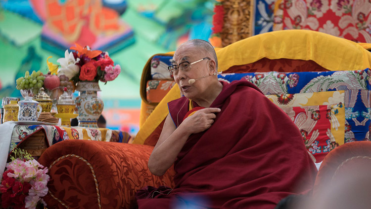 His Holiness the Dalai Lama speaking at the inauguration ceremony at Dudjom Nunnery in Shey, Ladakh, J&K, India on July 26, 2017. Photo by Tenzin Choejor/OHHDL