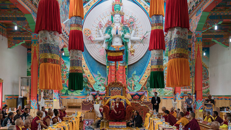 His Holiness the Dalai Lama speaking in the assembly hall during the inauguration ceremony at Dudjom Nunnery in Shey, Ladakh, J&K, India on July 26, 2017. Photo by Tenzin Choejor/OHHDL