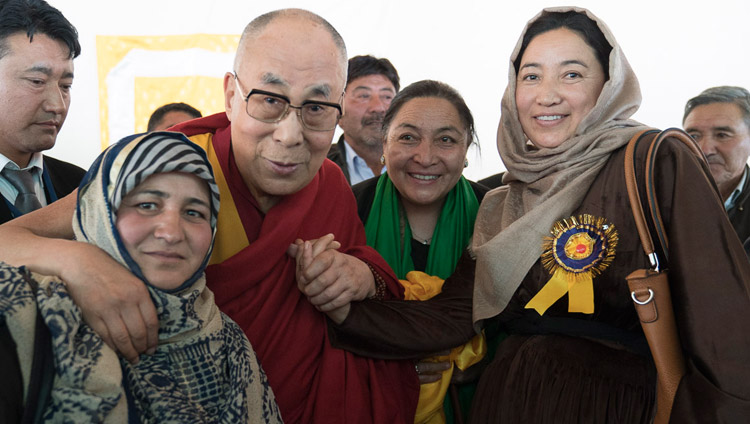 His Holiness the Dalai Lama with members of the Muslim community after his talk at Id-Gah in Leh, Ladakh, J&K, India on July 26, 2017. Photo by Tenzin Choejor/OHHDL