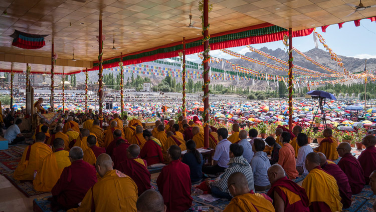 A view from the stage looking out at the 40,000 strong crowd attending His Holiness the Dalai Lama's teaching in Leh, Ladakh, J&K, India on July 28, 2017. Photo by Tenzin Choejor/OHHDL