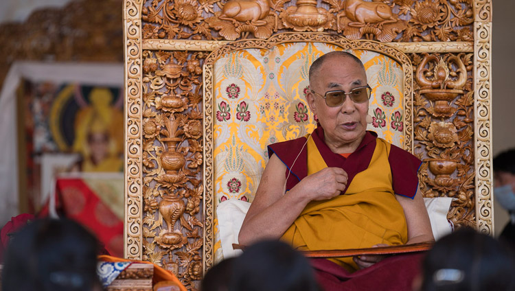 His Holiness the Dalai Lama during the first day of his three day teaching in Leh, Ladakh, J&K, India on July 28, 2017. Photo by Tenzin Choejor/OHHDL