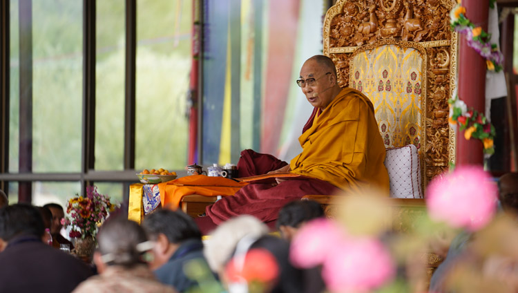 His Holiness the Dalai Lama speaking on the second day of his teachings in Leh, Ladakh, J&K, India on July 29, 2017. Photo by Tenzin Choejor/OHHDL