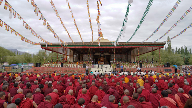 A view of the Shiwatsel teaching pavilion on the second day of His Holiness the Dalai Lama teachings in Leh, Ladakh, J&K, India on July 29, 2017. Photo by Tenzin Choejor/OHHDL