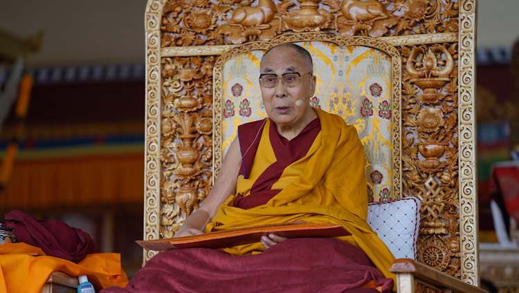 His Holiness the Dalai Lama on the second day of his teachings in Leh, Ladakh, J&K, India on July 29, 2017. Photo by Tenzin Choejor/OHHDL