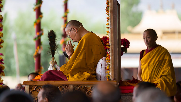 His Holiness the Dalai Lama undertaking preparatory rituals for the Long-Life Empowerment on the final day of his teachings in Leh, Ladakh, J&K, India on July 30, 2017. Photo by Tenzin Choejor/OHHDL