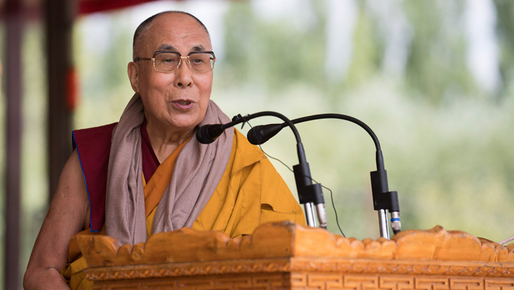 His Holiness the Dalai Lama speaking to the crowd at the conclusion of his teachings in Leh, Ladakh, J&K, India on July 30, 2017. Photo by Tenzin Choejor/OHHDL