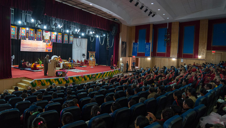 Prof SR Bhat, Chairman of Indian Council for Philosophical Research (ICPR), speaking at the start of the seminar on 'Buddhism in Ladakh' at the Central Institute of Buddhist Studies in Leh, Ladakh, J&K, India on August 1, 2017. Photo by Tenzin Choejor/OHHDL