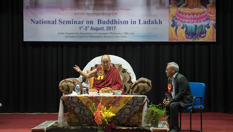 His Holiness the Dalai Lama addressing the audience on the first day of the three day seminar on 'Buddhism in Ladakh' at the Central Institute of Buddhist Studies in Leh, Ladakh, J&K, India on August 1, 2017. Photo by Tenzin Choejor/OHHDL