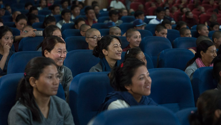 Members of the audience listening to His Holiness the Dalai Lama speaking at the seminar on 'Buddhism in Ladakh' at the Central Institute of Buddhist Studies in Leh, Ladakh, J&K, India on August 1, 2017. Photo by Tenzin Choejor/OHHDL
