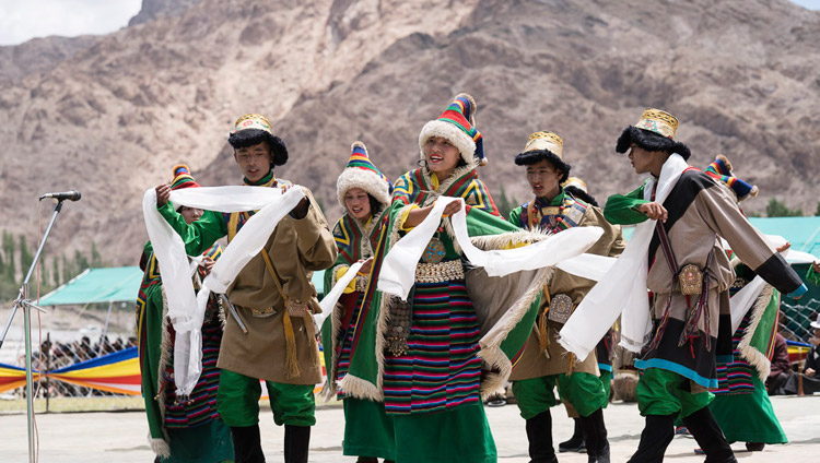 Students performing at a final reception for His Holiness the Dalai Lama at the Shiwatsel teaching ground in Leh, Ladakh, J&K, India on August 1, 2017. Photo by Tenzin Choejor/OHHDL