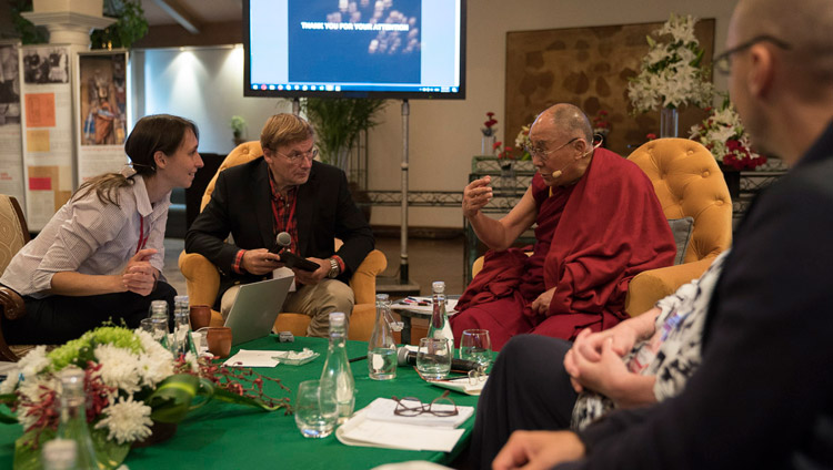 His Holiness the Dalai Lama interacting with Maria Falikman after her presentation on the second day of dialogue with Russian scientists in New Delhi, India on August 8, 2017. Photo by Tenzin Choejor/OHHDL