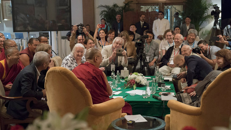 His Holiness the Dalai Lama delivering his closing remarks at the conclusion of the dialogue with Russian scientists in New Delhi, India on August 8, 2017. Photo by Tenzin Choejor/OHHDL