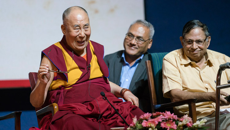 His Holiness the Dalai Lama answering questions from the audience after delivering the  Rajendra Mathur Memorial Lecture in New Delhi, India on August 9, 2017. Photo by Tenzin Choejor/OHHDL