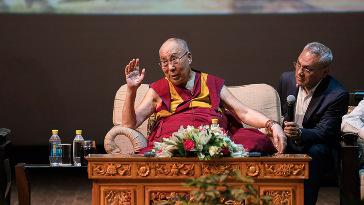 His Holiness the Dalai Lama speaking at the Siri Fort Auditorium in New Delhi, India on August 10, 2017. Photo by Tenzin Choejor/OHHDL