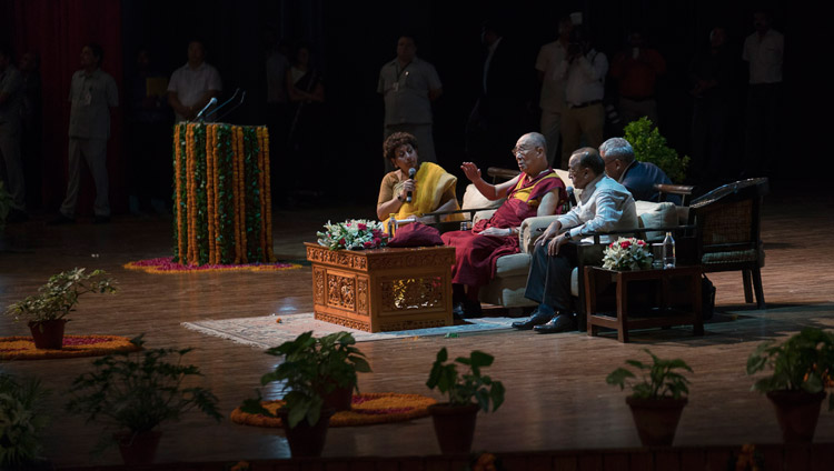 His Holiness the Dalai Lama answering questions from the audience during his talk at the Siri Fort Auditorium in New Delhi, India on August 10, 2017. Photo by Tenzin Choejor/OHHDL