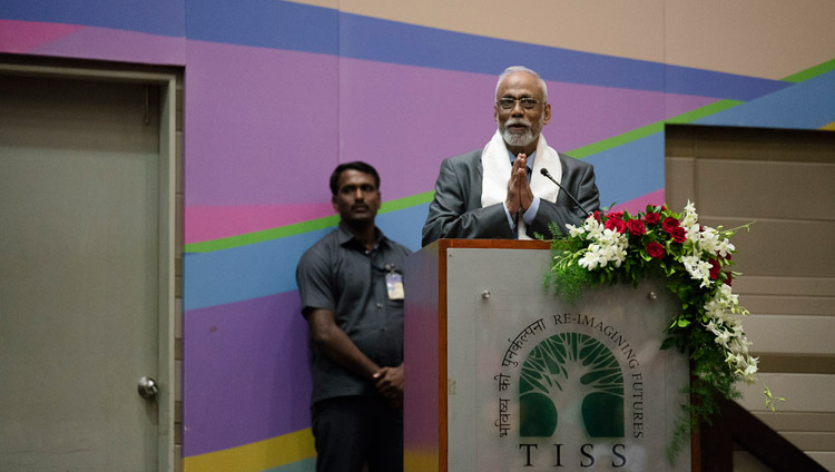 Prof S Parasuraman welcoming the audience to the launch of the Secular Ethics for Higher Education course at Tata Institute of Social Sciences in Mumbai, India on August 14, 2017. Photo by Tenzin Choejor/OHHDL