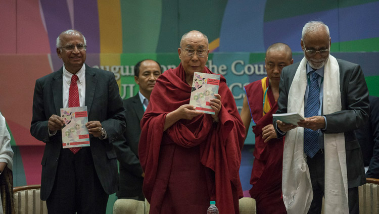 His Holiness the Dalai Lama in the formal launch of the course in Secular Ethics with the release of the course primer at Tata Institute of Social Sciences in Mumbai, India on August 14, 2017. Photo by Tenzin Choejor/OHHDL