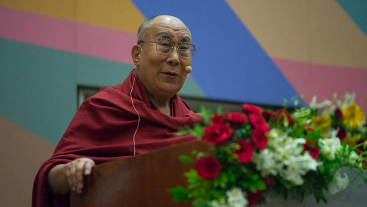 His Holiness the Dalai Lama giving the inaugural address at the launch of the Secular Ethics for Higher Education course at Tata Institute of Social Sciences in Mumbai, India on August 14, 2017. Photo by Tenzin Choejor/OHHDL