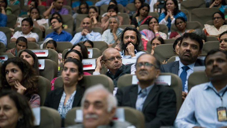 Members of the audience listening to His Holiness the Dalai Lama at the launch of the Secular Ethics for Higher Education course at Tata Institute of Social Sciences in Mumbai, India on August 14, 2017. Photo by Tenzin Choejor/OHHDL