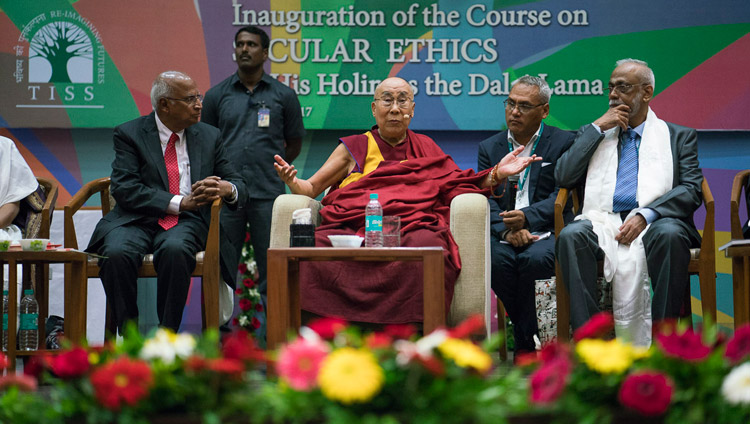 His Holiness the Dalai Lama answering questions from the audience during the launch of the Secular Ethics for Higher Education course at Tata Institute of Social Sciences in Mumbai, India on August 14, 2017. Photo by Tenzin Choejor/OHHDL