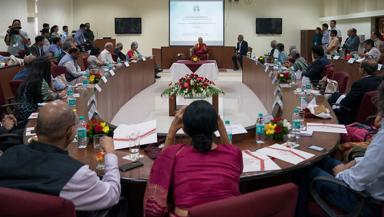 His Holiness the Dalai Lama meeting with industry leaders and university vice-chancellors at Tata Institute of Social Sciences in Mumbai, India on August 14, 2017. Photo by Tenzin Choejor/OHHDL